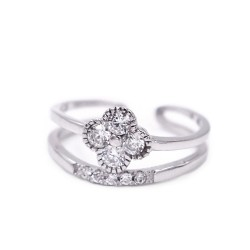 925 Sterling Silver White Flower Ring