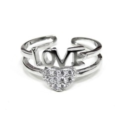 925 Sterling Silver Love Ring with White Zircons Heart
