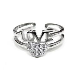 Anello Love in Argento Sterling 925 con Cuore Zirconato Misura Regolabile