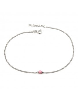 925 Sterling Silver Anklet with Pink Sphere