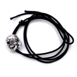 Sterling Silver Pirate Skull Black Cord Bracelet