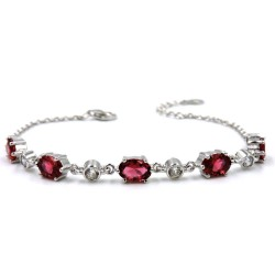 925 Sterling Silver Bracelet with Red and White Stones