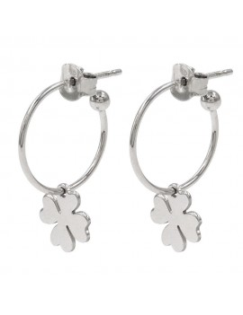 Sterling Silver Hoop Earrings with Four Leaf Clover