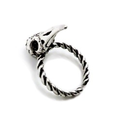 800 Sterling Silver Crow's Head Ring