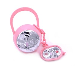Pink Pacifier Clip with Case Baby Girl Cat Decor