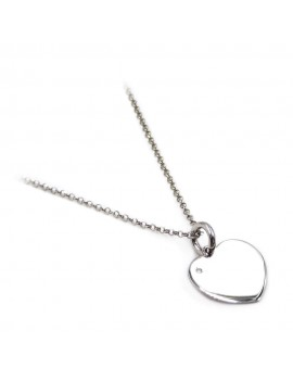 Customizable 925 Sterling Silver Heart Necklace with Diamond