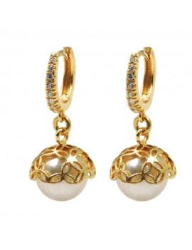 Bell Hoop Earrings with Pearl and Zirconia