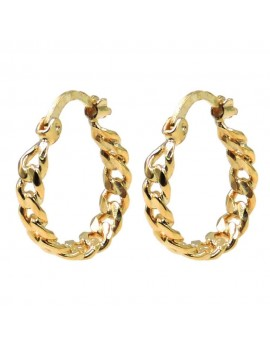 Gold Plated Sterling Silver Chain Hoop Earrings