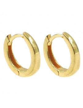 Gold Plated 925 Sterling Silver Small Hoop Earrings Diameter 0,47''
