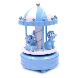 Carillon for Baby Boys Blue and White Carousel with Dogs