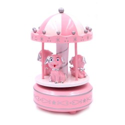 Carillon for Baby Girls Pink and White Carousel with Dogs