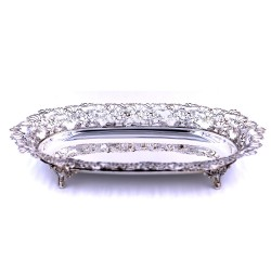 925 Sterling Silver glossy dish with legs and fine lime leaves decor
