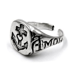 Solid Silver Vitae Amor Anchor Chevalier Ring