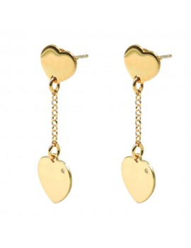 Gold Plated 925 Sterling Silver Hearts Earrings with Diamond