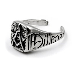 Solid Silver Ring with Masonic Symbology of the Illuminati
