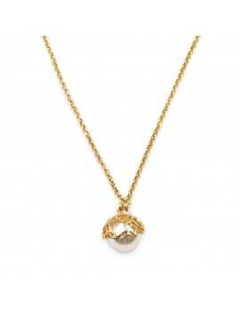 Gold Plated Sterling Silver Bell Necklace with Pearl