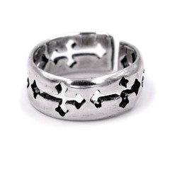 Solid Silver Band Ring with Crosses