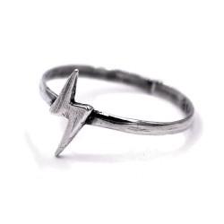 Solid Silver Lighting Bolt Ring