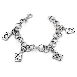 925 Sterling Silver Poker Aces Bracelet