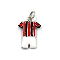 Sterling Silver Red and Black Striped Football Uniform Pendant