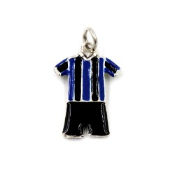 Sterling Silver Black and Blue Striped Football Uniform Pendant