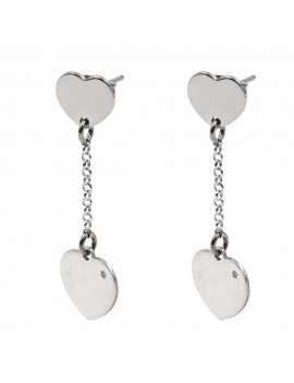 925 Sterling Silver Hearts Earrings with Diamond
