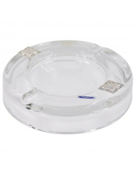 Round Crystal Ashtray with Silver Inserts