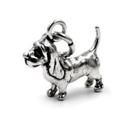 800 Sterling Silver Basset Hound Pendant