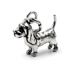 Solid Silver Basset Hound Pendant
