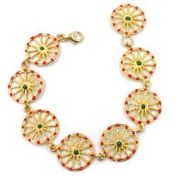Enamelled Golden Solid Silver Sicilian Cart Wheels Bracelet