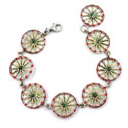 Enamelled Solid Silver Sicilian Cart Wheels Bracelet