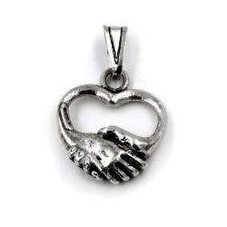 Solid Silver Heart Handshake Pendant