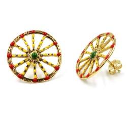Enamelled Golden Solid Silver Sicilian Cartwheel Earrings