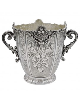 Baroque Chiseled 925 Sterling Silver Ice Bucket
