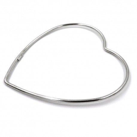 Heart Shaped 925 Sterling Silver Rigid Bracelet