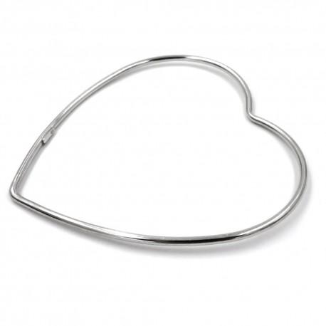 Heart Shaped 925 Sterling Silver Rigid Bracelet