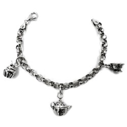 925 Sterling Silver Tea Time Addicted Bracelet