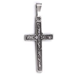 Ciondolo Croce Decoro Fiori in Argento 800