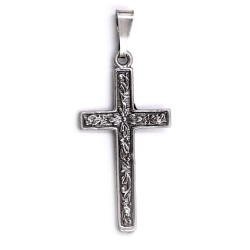 Sterling Silver Cross Pendant with Flowers Decor