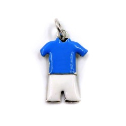 Sterling Silver White and Blue Football Uniform Pendant