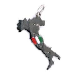 Ciondolo Italia in Argento 800 Smaltato