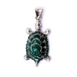 Green Enamelled Sterling Silver Turtle Pendant