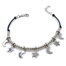 Bracciale Cordina blu con pepite e Ciondoli Stelle e Luna in Argento 925