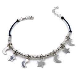 Blue Rope Bracelet with 925 Sterling Silver Stars and Moon Pendants