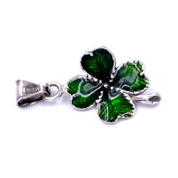 Sterling Silver Enamelled Green Shamrock Pendant