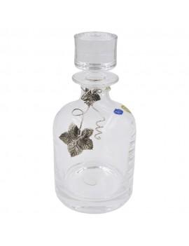Crystal Liqueur Bottle with Silver Vine Leaf