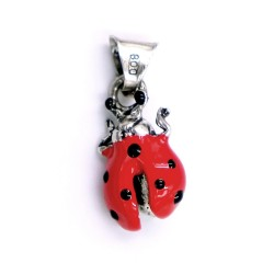 Red Enamelled Sterling Silver Open Wings Ladybug Pendant