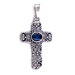 Sterling Silver Cross Pendant with Green Oval Insert