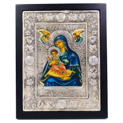 950 Solid Silver and Wood Byzantine Icon Madonna with Child and Angels