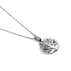 Collana Albero della Vita in Argento 925 con Inserti in Vetro Colorato